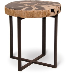 Black Petrified Wood Accent Table, Small