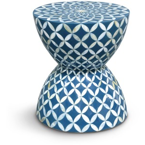 Inlaid Shell Hourglass Stool/table