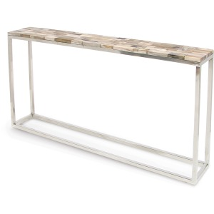 Mosaic Petrified Wood Thin Console Table