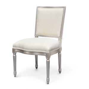 Lyon Square Back Side Chair, Silver Leaf