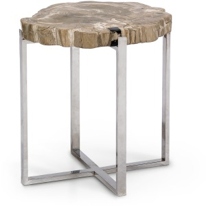 Sliced Petrified Wood Accent Table, Large