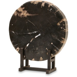 Black Petrified Wood With Stand, Large