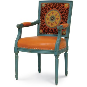 Lyon Square Back Arm Chair, Orange Medallion