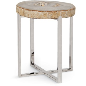 Sliced Petrified Wood Accent Table, Small