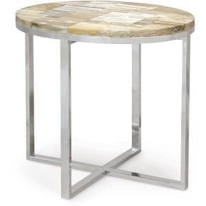 Petrified Wood Oval Side Table