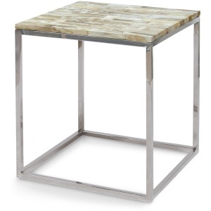 Mosaic Petrified Wood Side Table