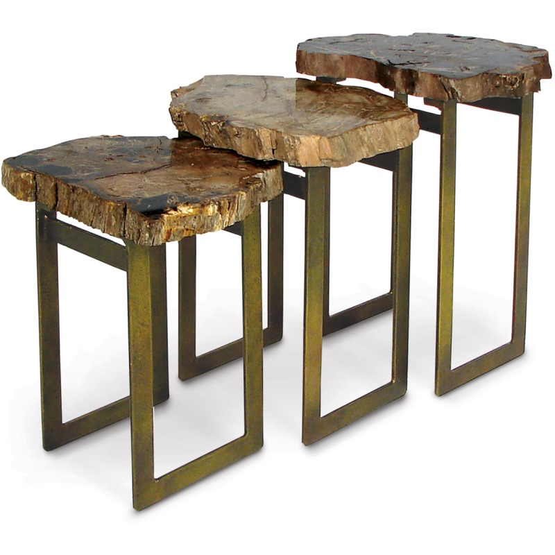Petrified Wood Waterfall Table, Set Of 3