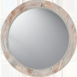 Round Washed Wood Mirror Wood