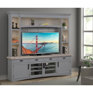 "Americana Modern Dove 92"" TV Console w/ Hutch, Back Panel, & LED Lights"