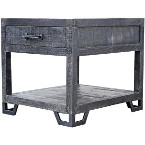 Veracruz End Table - Rustic Charcoal