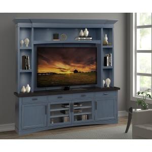 "Americana Modern Denim 92"" TV Console w/ Hutch, Back Panel, & LED Lights"