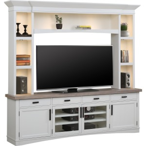 Americana Modern Cotton 92in TV Console w/Hutch & LED Lights