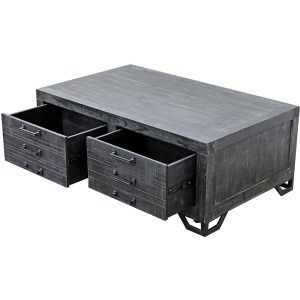 Veracruz Cocktail Table - Rustic Charcoal