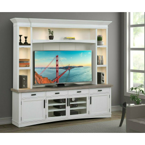Americana Modern Cotton 92in TV Console w/Hutch, Backpanel & LED Lights
