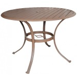 "Island Breeze Slatted Aluminum 42"" Round Dining Table"