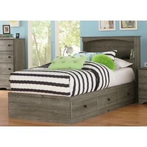 Weathered Gray Ash Twin Mates Bed