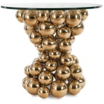 Frizzante Side Table Plated Brass Finish