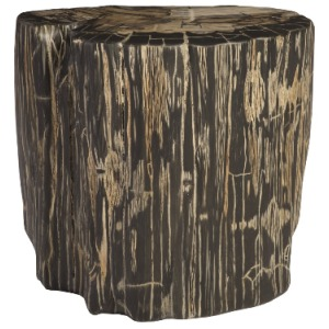 Striated Round Cast Petrified Wood Stool