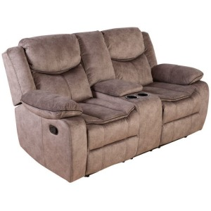 Logan Reclining Console Loveseat - Brown