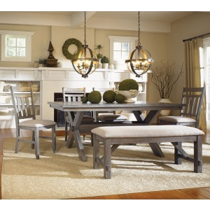 6-Pc. Turino Dining Set – 457-417 Table, 457-260 Bench & 4 457-434 Side Chairs