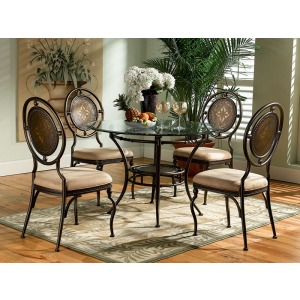 5-Pc. Basil Dining Set 364-410 Table Pedestal GC2 48″ Dia. Glass Top 4 364-434 Chairs