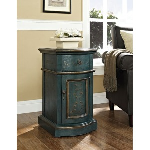 Blue Chairside Storage Cabinet