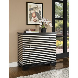 Black and Mirror 4 Drawer Accent Table