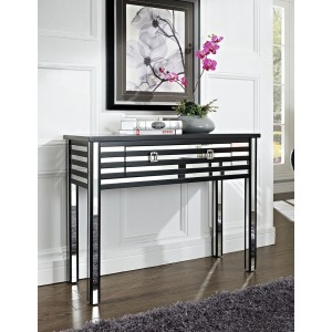 Black and Mirror 1 Drawer Sofa Table