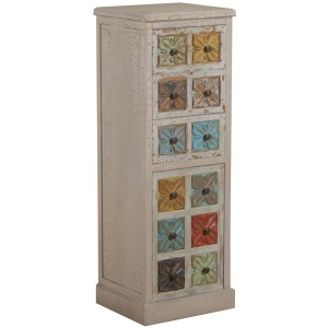8 Molly White and Colored Tall Cabinet