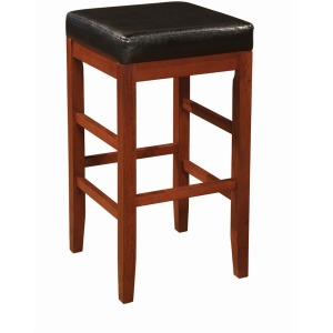 """""""Cherry"""" Square Backless Bar Stool with Black Bonded Leather Seat"""