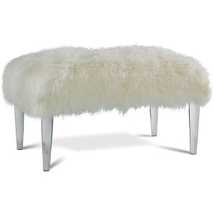 Lily Leather Ottoman with Octagonal Acrylic Legs