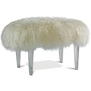 Scarlett Leather Ottoman with Octagonal Acrylic Legs