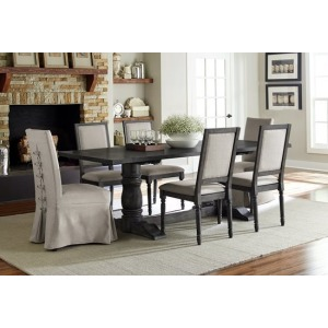 Muse Double Pedestal Trestle Dining Table