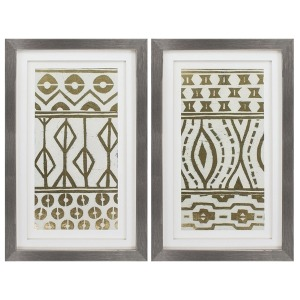 Tribal Pattern Cream S/2