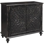 Black Distressed Carved Door Chest