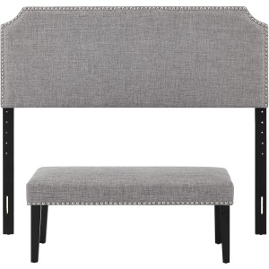 Queen Clip Corner Headboard with Bench - Gray