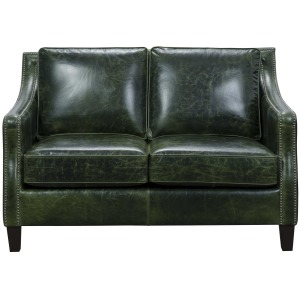 Miles Leather Loveseat in Fescue Green