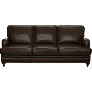 Oliver Traditional Stationary Sofa with Brass Nail Head Trim in Espresso