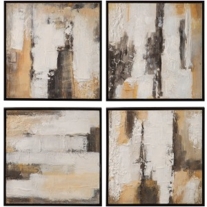 Beige Shadows Hand Painted Canvases, S/4