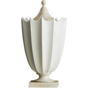 Crenulated Medium Urn - Matte White