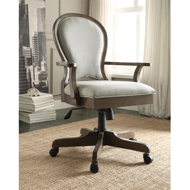 Scroll Back Upholstered Desk Chair