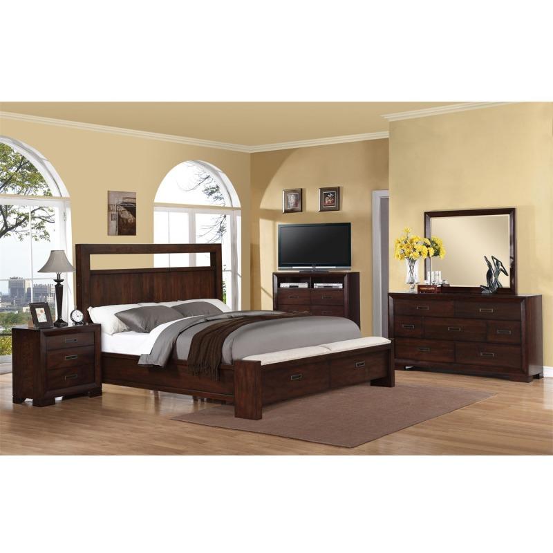 California King Storage Panel Bed w/Bench