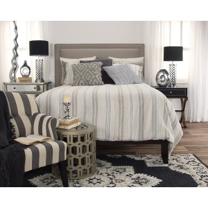 Terrance Queen Duvet Set - Natural /Grey