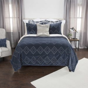 King Quilt - Indigo Embroidered