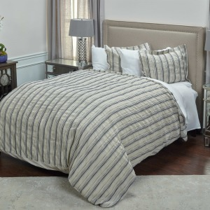 King Duvet & Sham Set - Natural /Navy Striped