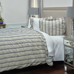 King Duvet - Natural /Navy Striped
