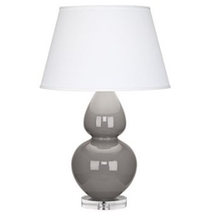 Smokey Taupe Double Gourd Table Lamp in Smoky Taupe Glazed Ceramic with Lucite Base