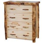 4 Drawer Chest in Flat Front - Natural Panel & Gnarly Log