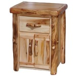 Tall Night Stand in Flat Front in Natural Panel & Natural Log