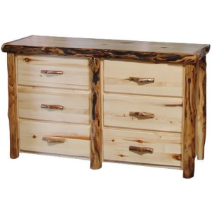 6 Drawer Dresser in Flat Front in Natural Panel & Log